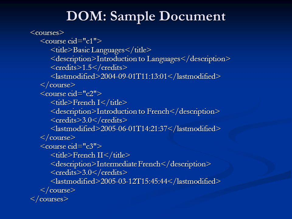 DOM: Sample Document <courses> <course cid= c1 >