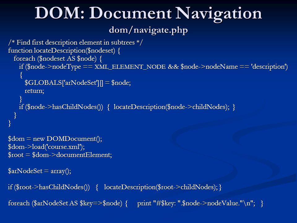 DOM: Document Navigation dom/navigate.php