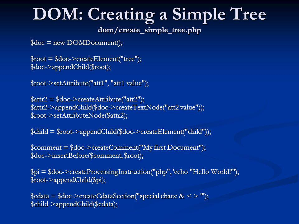 DOM: Creating a Simple Tree dom/create_simple_tree.php