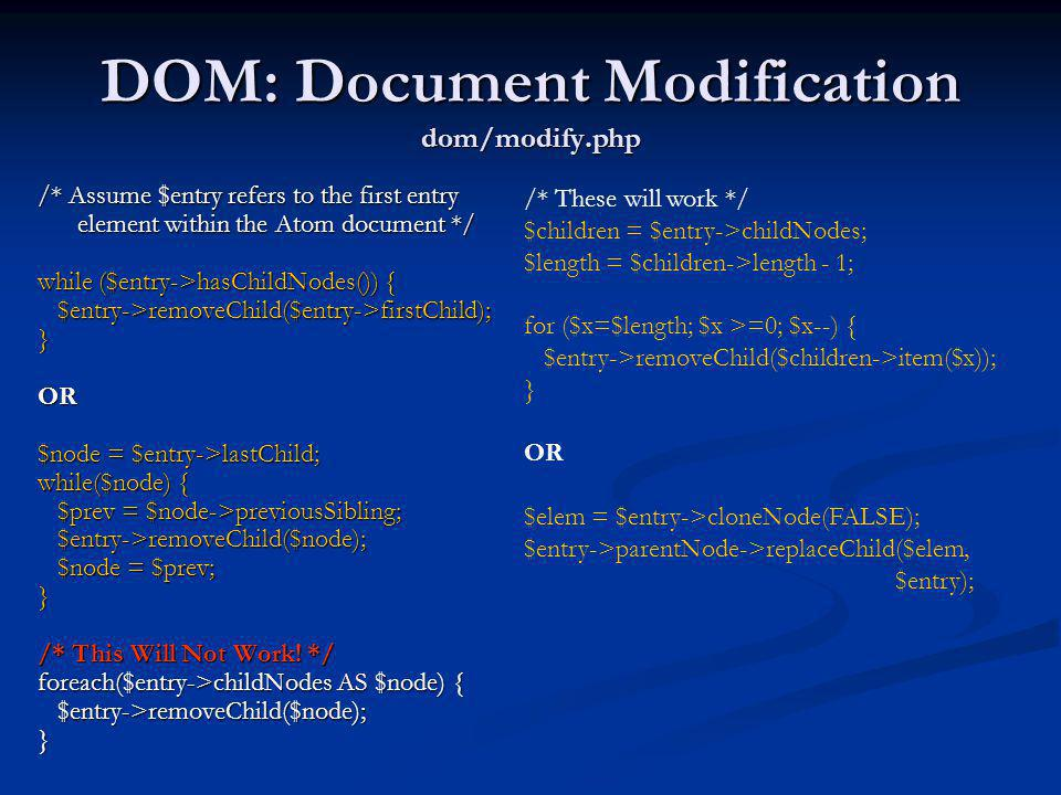 DOM: Document Modification dom/modify.php