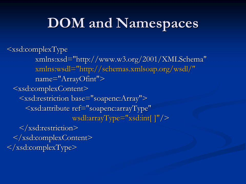 DOM and Namespaces <xsd:complexType