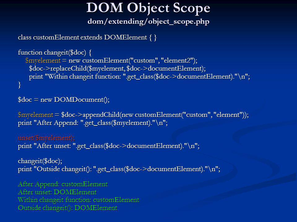 DOM Object Scope dom/extending/object_scope.php