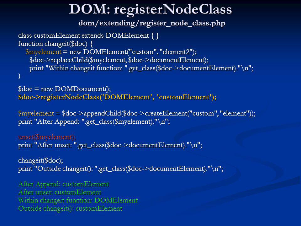 DOM: registerNodeClass dom/extending/register_node_class.php