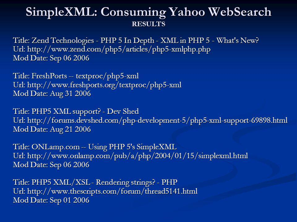 SimpleXML: Consuming Yahoo WebSearch RESULTS