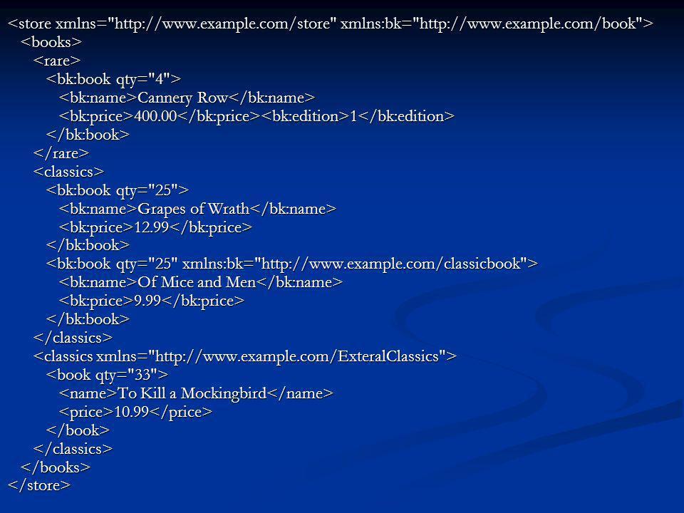 <store xmlns= http://www. example. com/store xmlns:bk= http://www