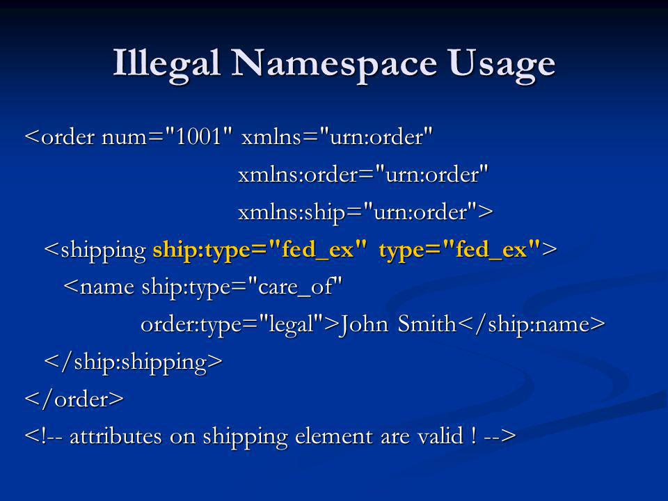 Illegal Namespace Usage