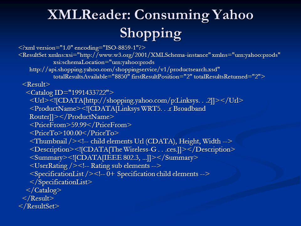 XMLReader: Consuming Yahoo Shopping
