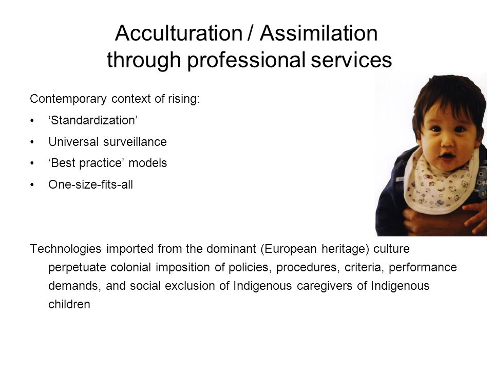 Acculturation / Assimilation through professional services