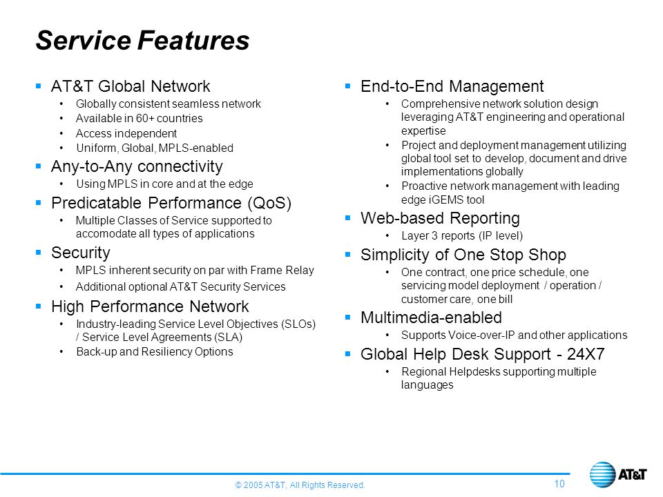 Service Features AT&T Global Network Any-to-Any connectivity