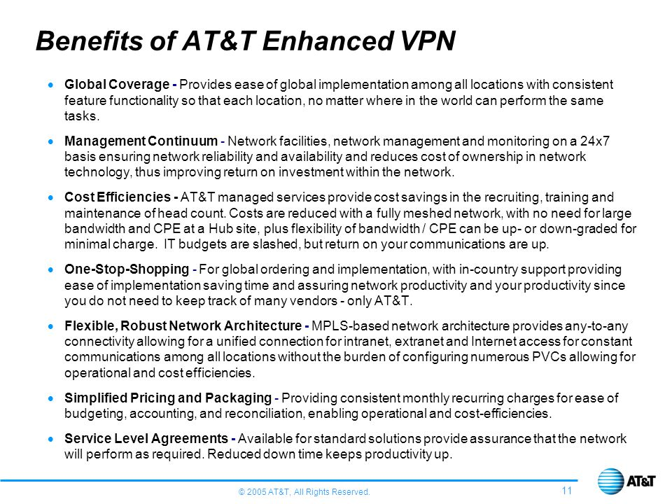 Benefits of AT&T Enhanced VPN