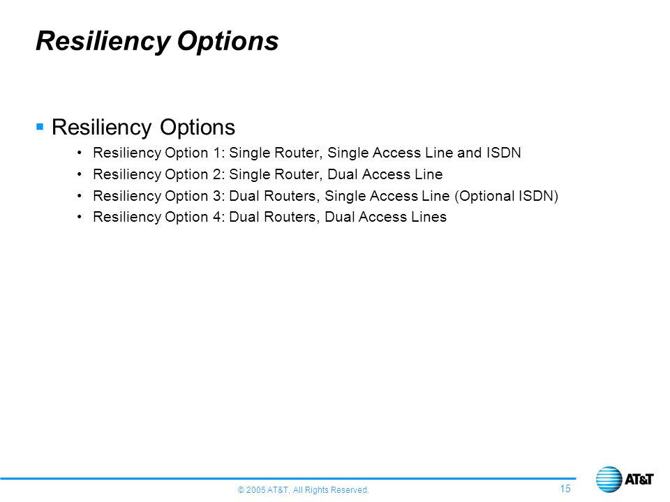 Resiliency Options Resiliency Options