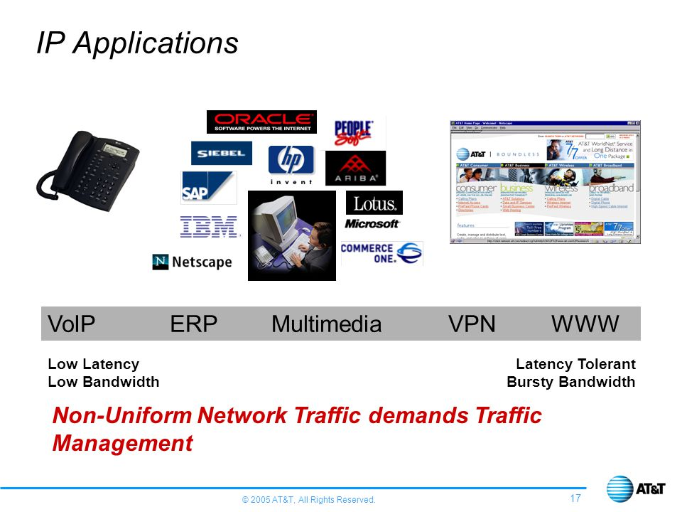 IP Applications VoIP ERP Multimedia VPN WWW