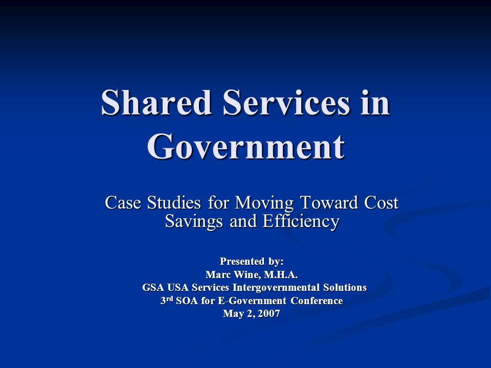 Shared Services in Government