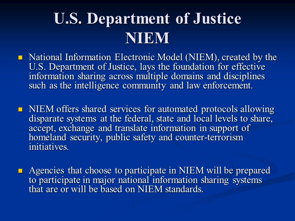 U.S. Department of Justice NIEM