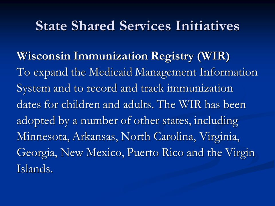 State Shared Services Initiatives