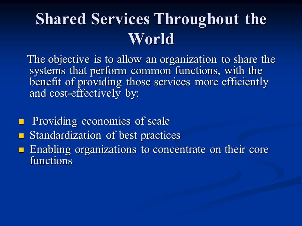 Shared Services Throughout the World