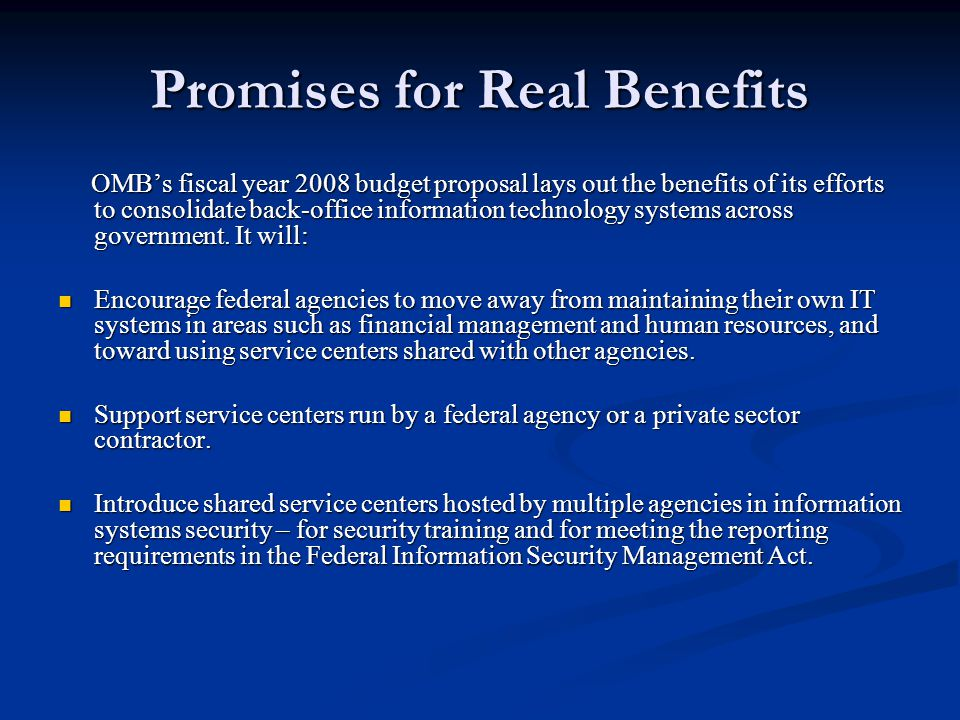 Promises for Real Benefits