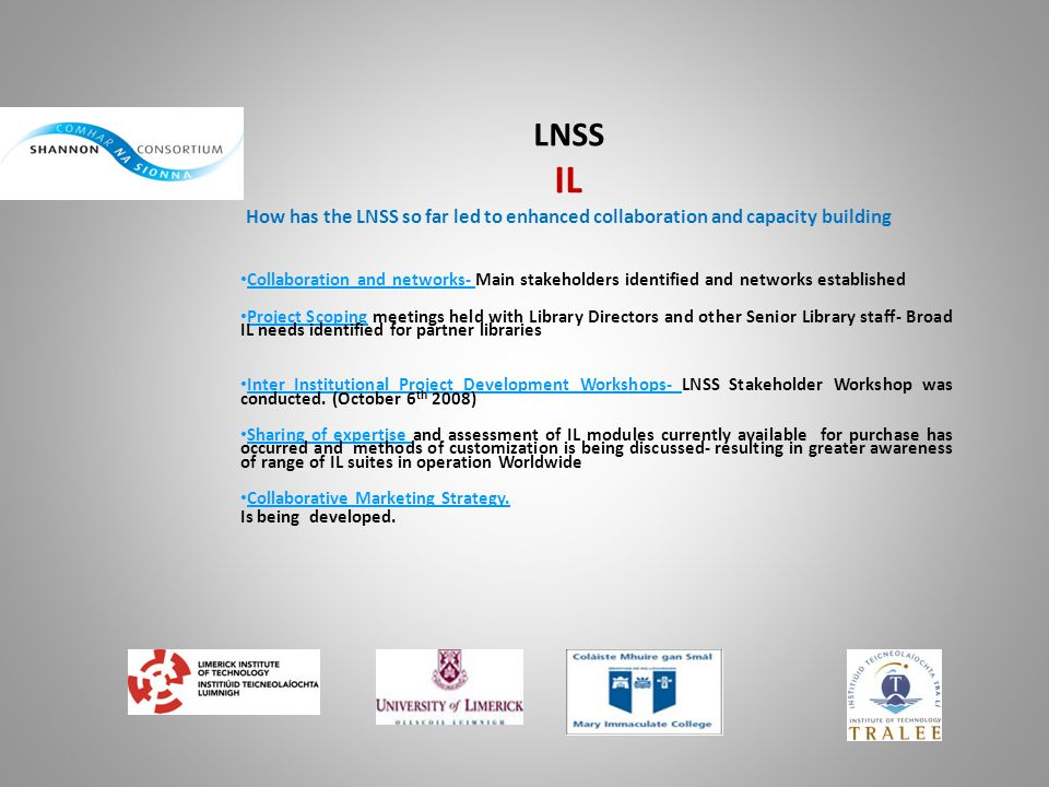 LNSS IL How has the LNSS so far led to enhanced collaboration and capacity building