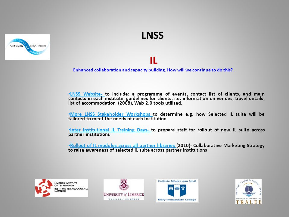 LNSS IL Enhanced collaboration and capacity building