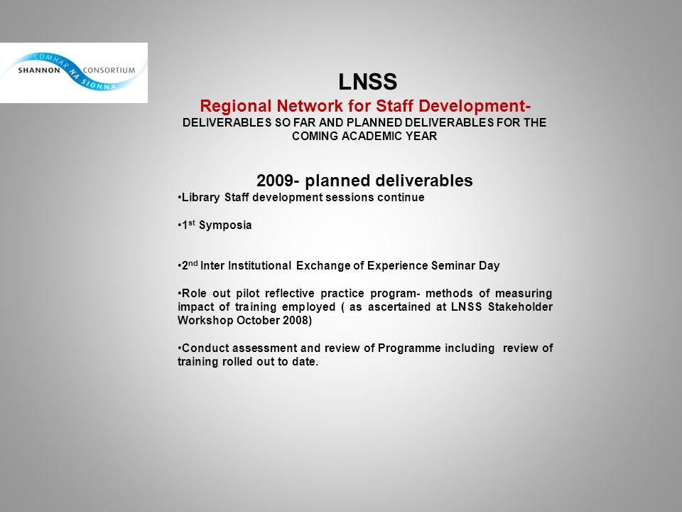 2009- planned deliverables