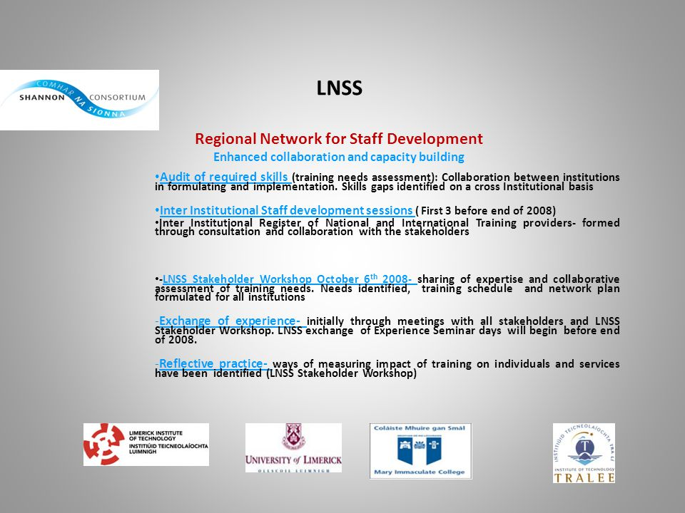 LNSS Regional Network for Staff Development Enhanced collaboration and capacity building