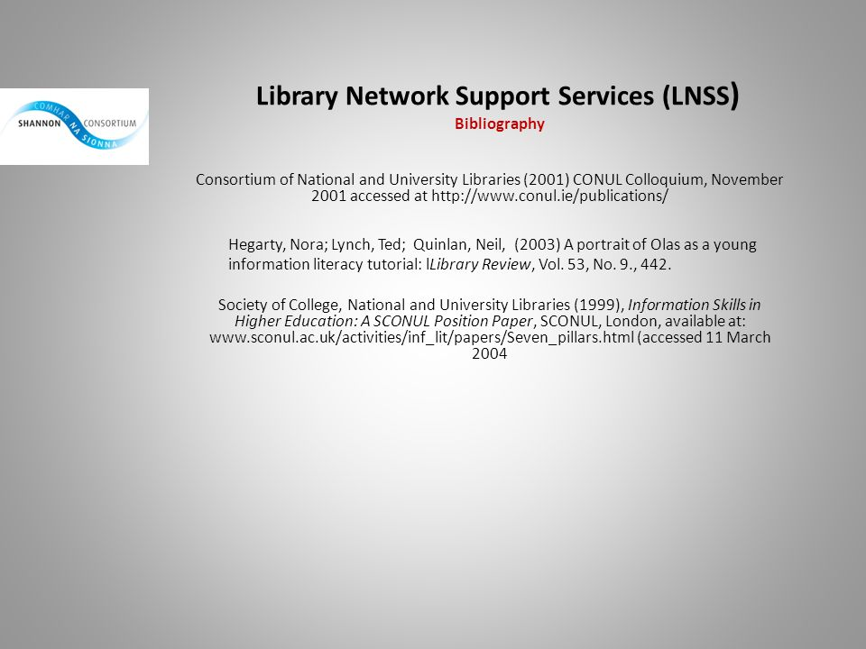 Library Network Support Services (LNSS) Bibliography