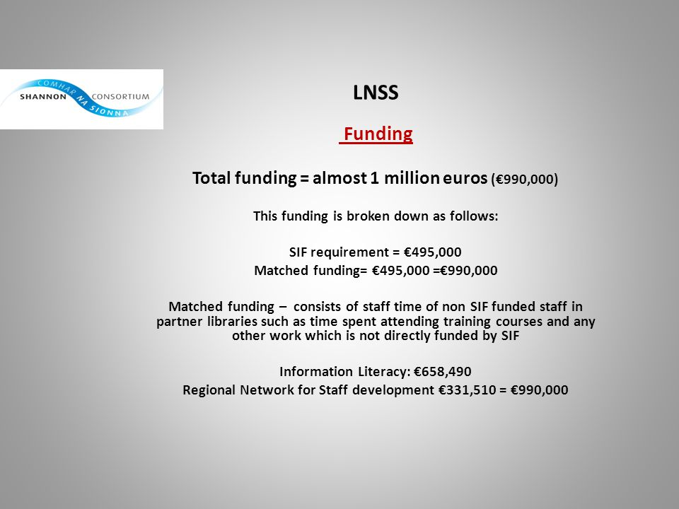 LNSS Funding Total funding = almost 1 million euros (€990,000)