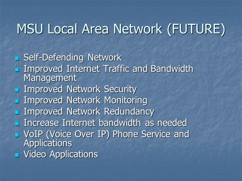 MSU Local Area Network (FUTURE)