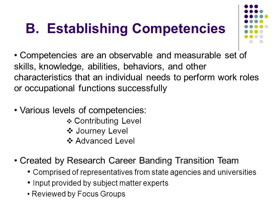 B. Establishing Competencies
