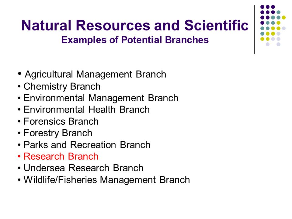 Natural Resources and Scientific Examples of Potential Branches