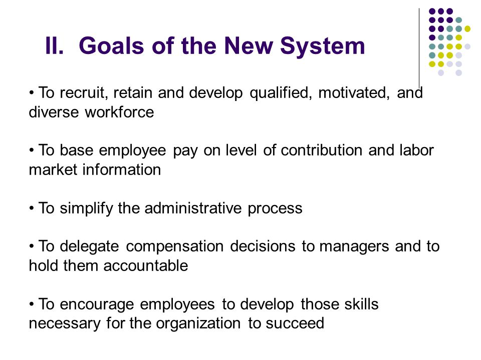 II. Goals of the New System