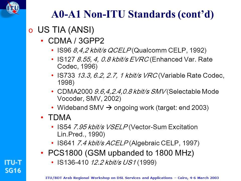 A0-A1 Non-ITU Standards (cont'd)