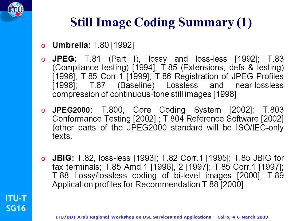 Still Image Coding Summary (1)