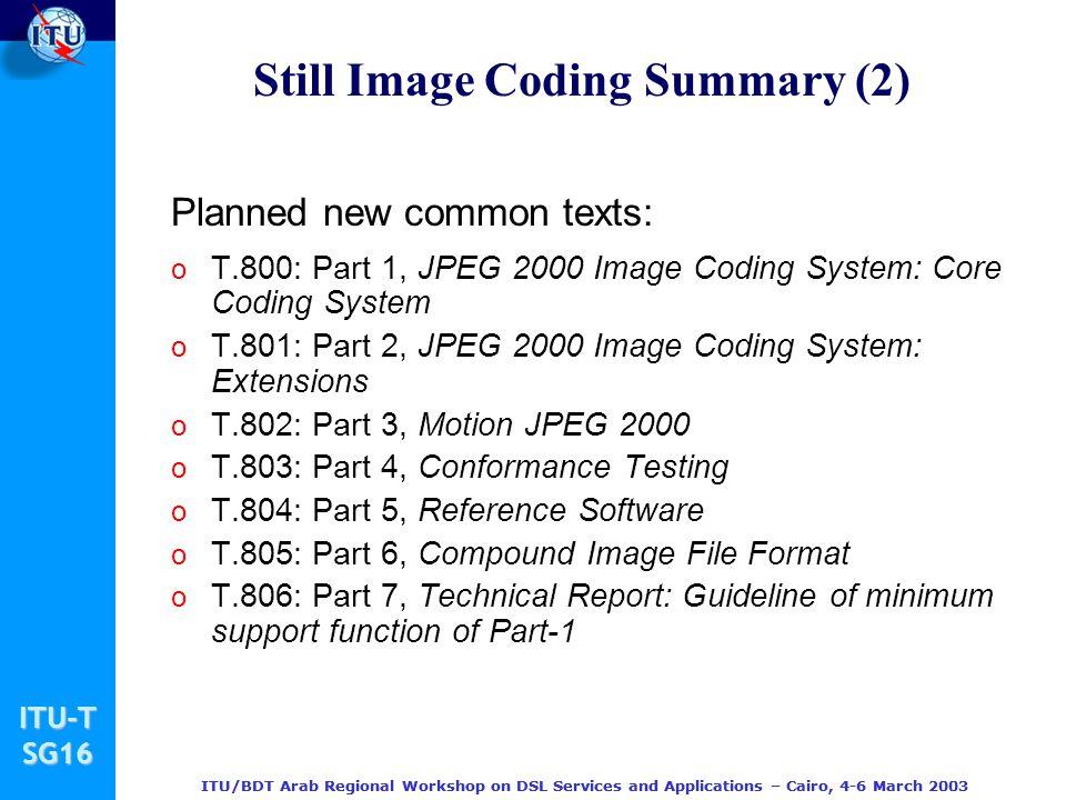 Still Image Coding Summary (2)