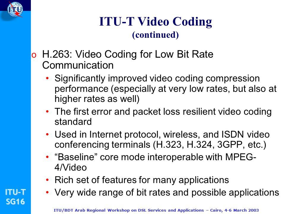 ITU-T Video Coding (continued)