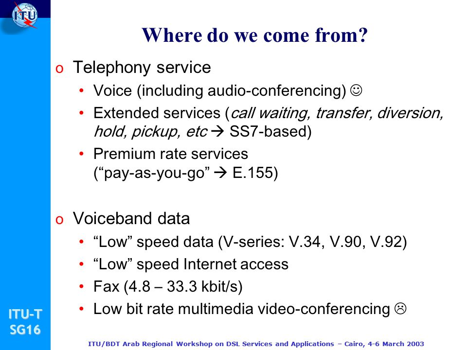 Where do we come from Telephony service Voiceband data