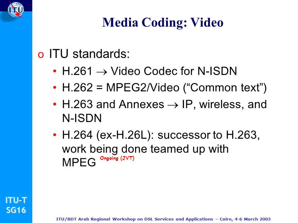 Media Coding: Video ITU standards: H.261  Video Codec for N-ISDN