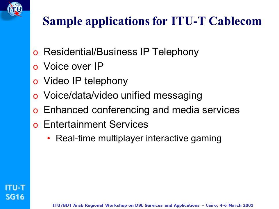 Sample applications for ITU-T Cablecom