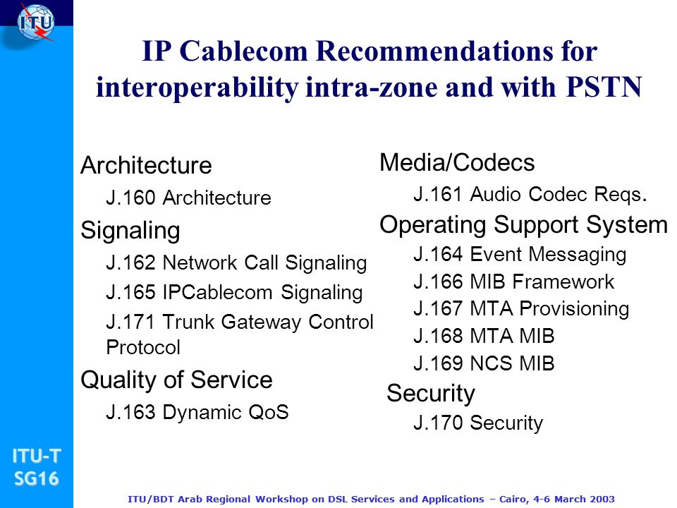 IP Cablecom Recommendations for interoperability intra-zone and with PSTN
