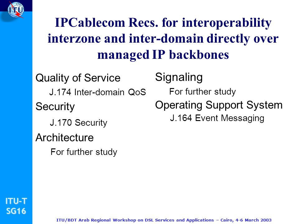 IPCablecom Recs. for interoperability interzone and inter-domain directly over managed IP backbones