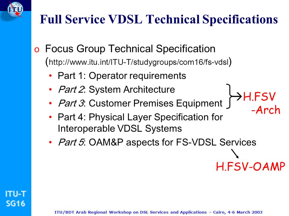 Full Service VDSL Technical Specifications