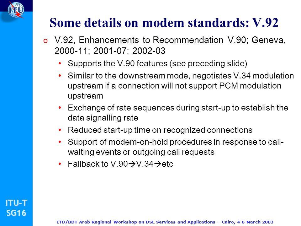 Some details on modem standards: V.92
