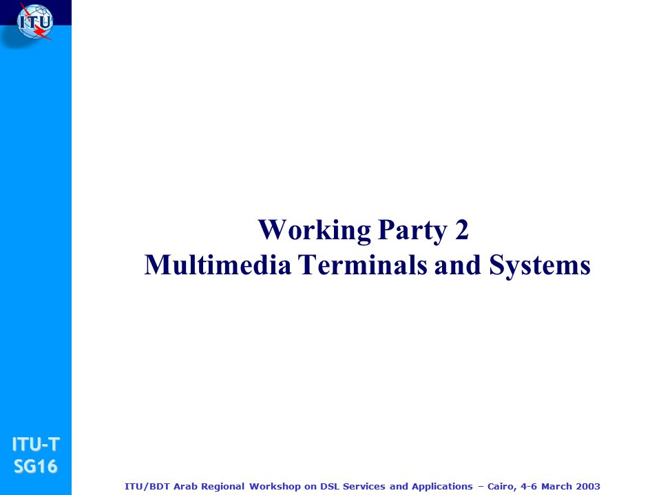 Working Party 2 Multimedia Terminals and Systems