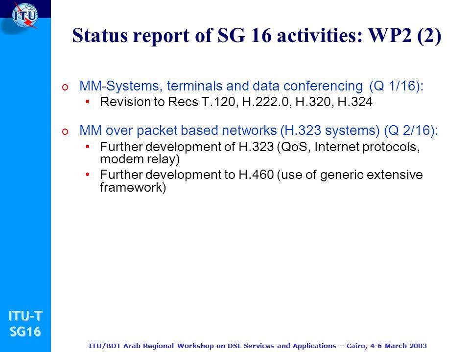 Status report of SG 16 activities: WP2 (2)