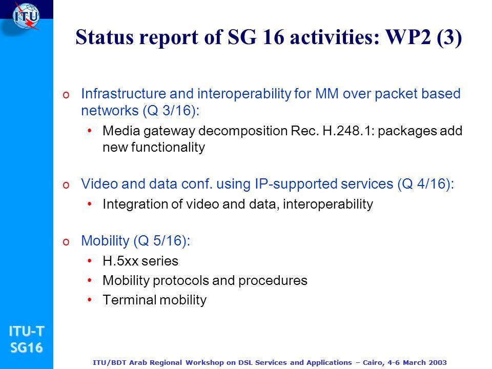Status report of SG 16 activities: WP2 (3)