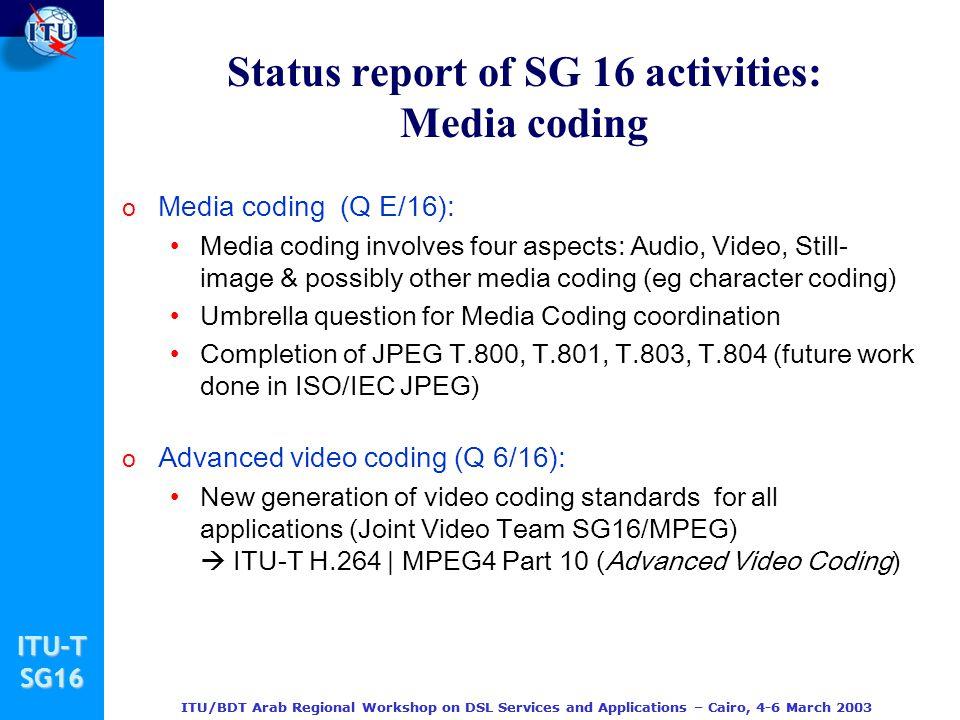 Status report of SG 16 activities: Media coding