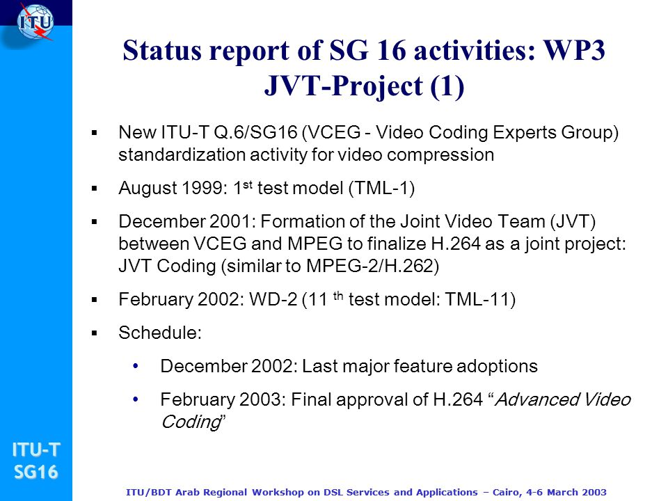 Status report of SG 16 activities: WP3 JVT-Project (1)
