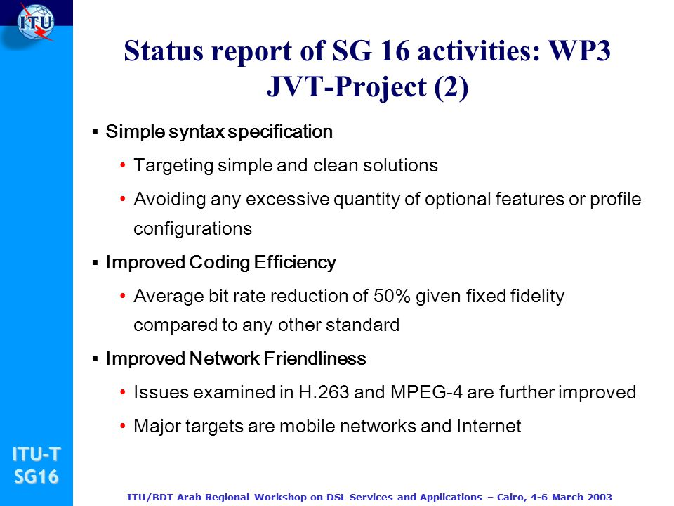 Status report of SG 16 activities: WP3 JVT-Project (2)