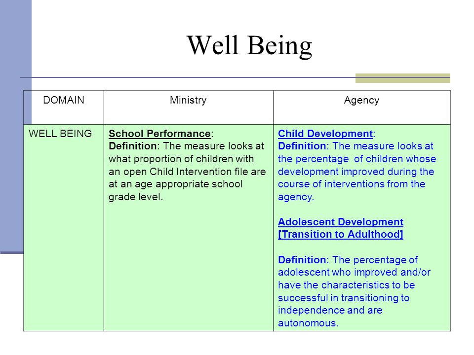 Well Being DOMAIN Ministry Agency WELL BEING School Performance: