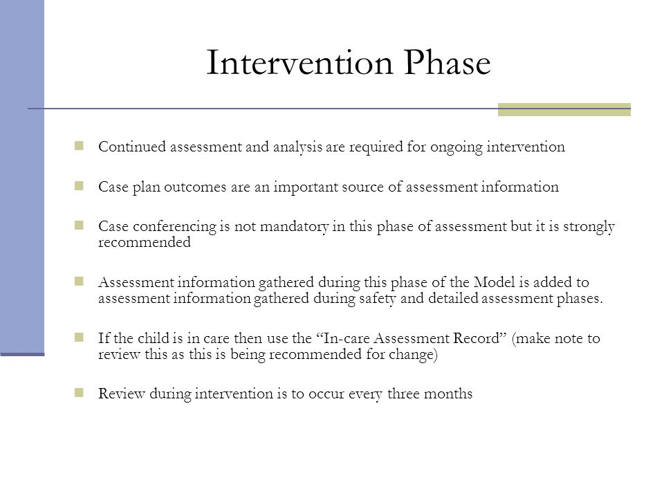 Intervention Phase Continued assessment and analysis are required for ongoing intervention.